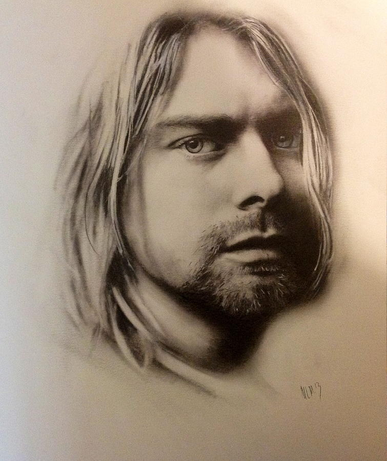 It is a graphic of Crazy Drawing Of Kurt Cobain