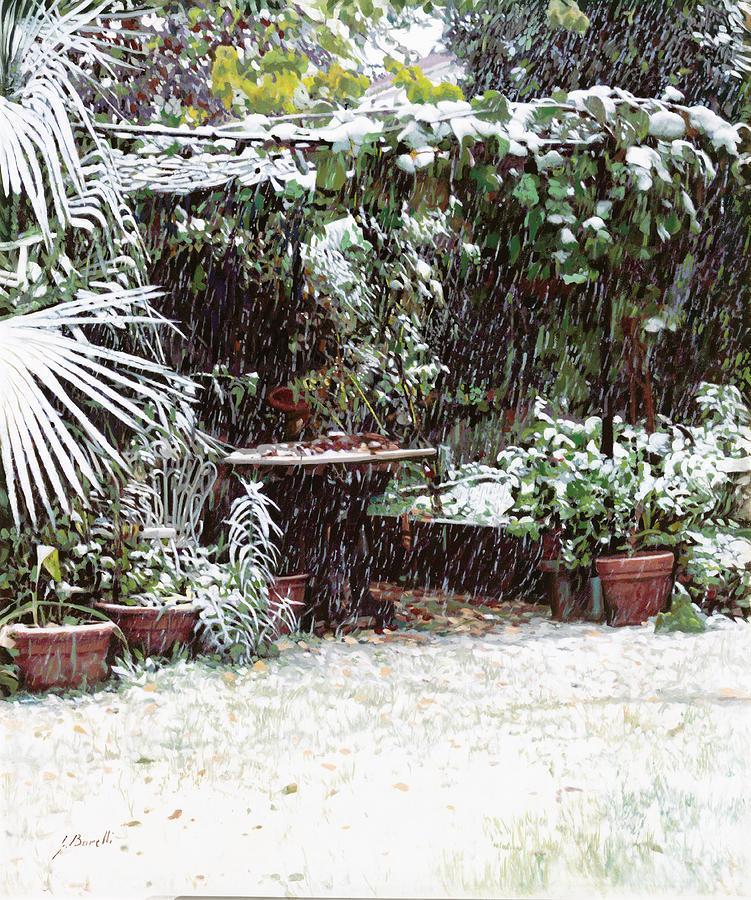 Snow Painting - La Neve Sotto La Topia by Guido Borelli