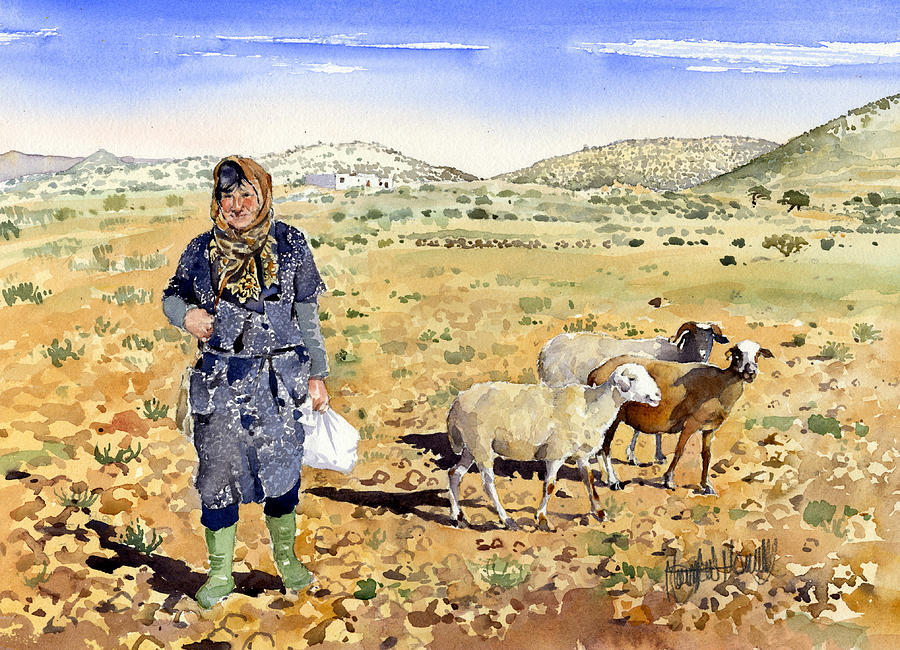 Watercolor Painting - La Pastora by Margaret Merry