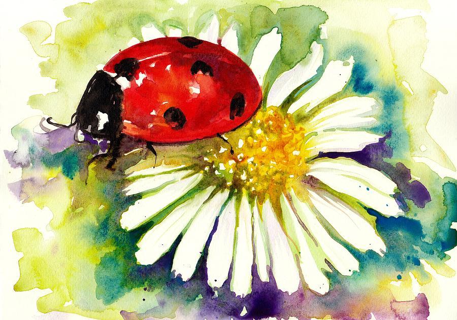 Ladybug In Flowers Painting