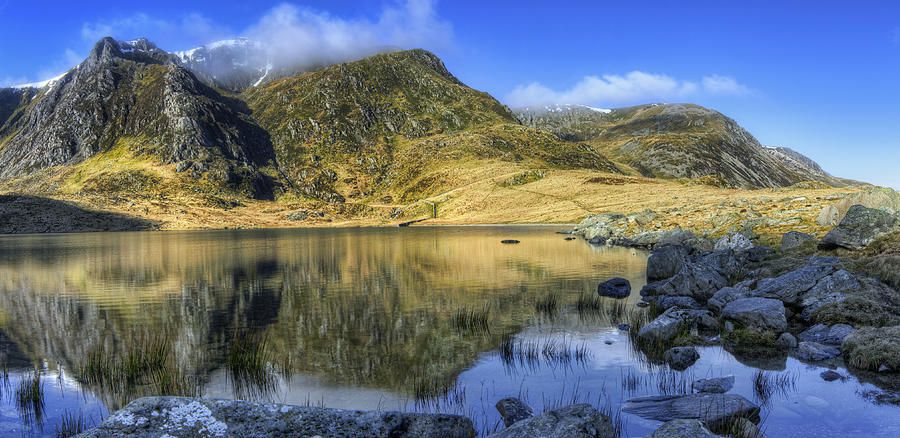 Clouds Photograph - Lake Idwal by Ian Mitchell