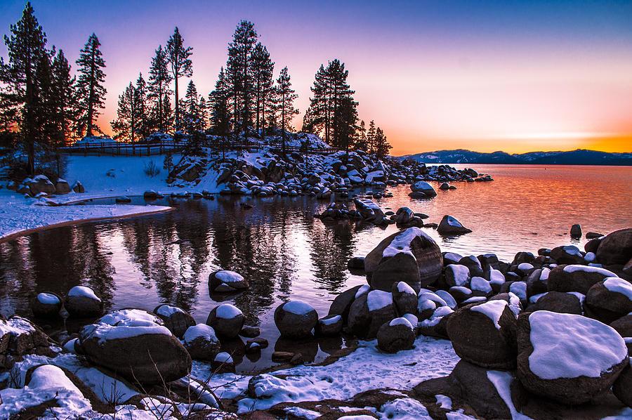 Lake Tahoe Winter Sunset Photograph By Brandon Mcclintock