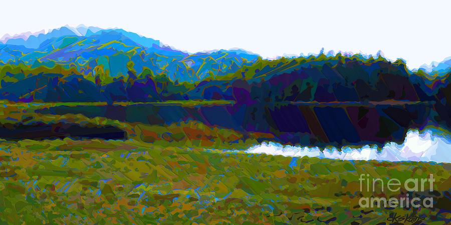 Alaska Painting - Lakeside Awakes by Dorinda K Skains