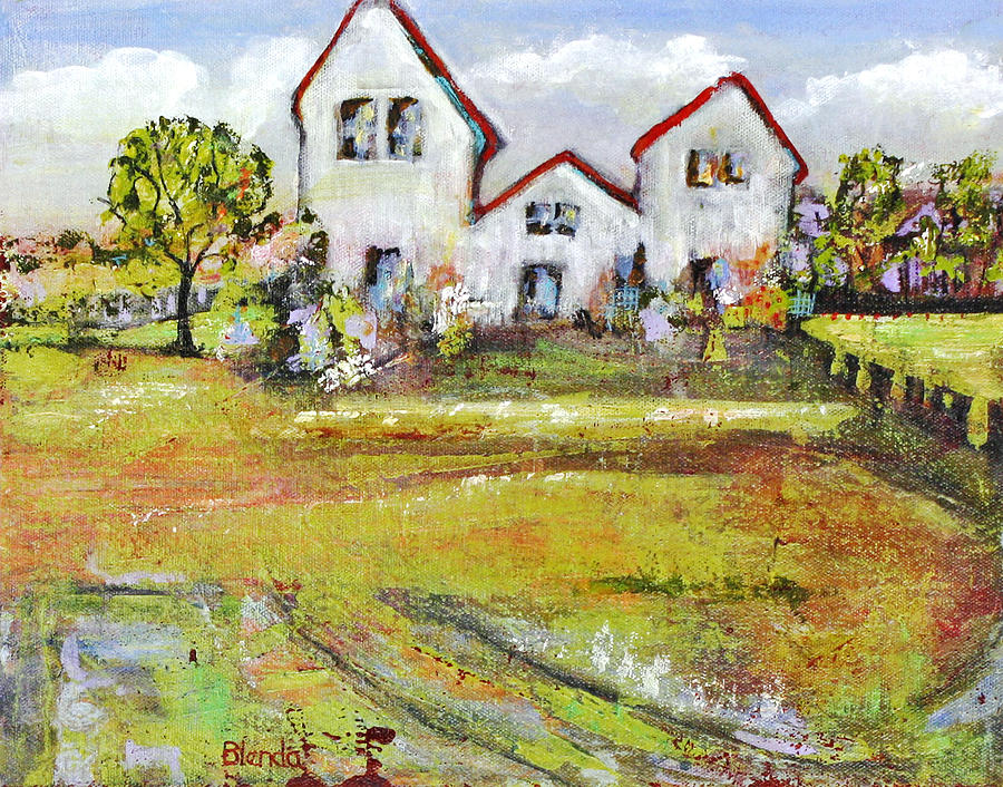 Landscape Painting - Landscape Art Scenic Fields by Blenda Studio