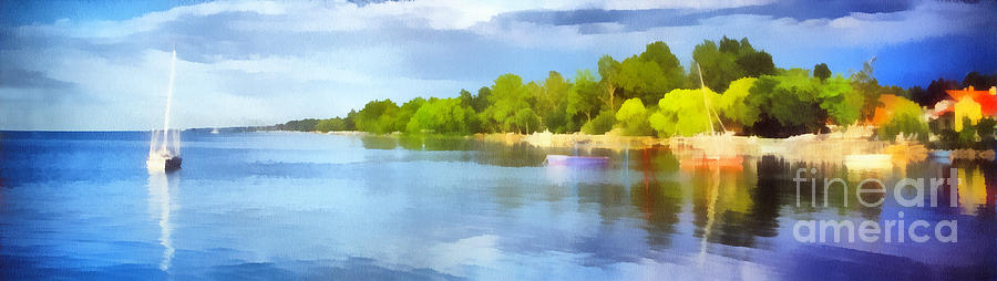 Summer Painting - Landscape Of The Balaton Lake by Odon Czintos