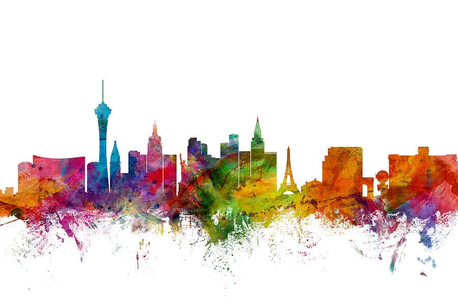 City Digital Art - Las Vegas Nevada Skyline by Michael Tompsett