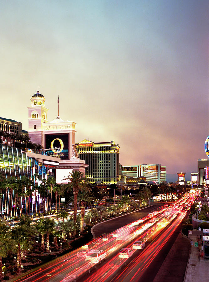 Las Vegas Strip With Car Trails At Dusk Photograph by Gary Yeowell