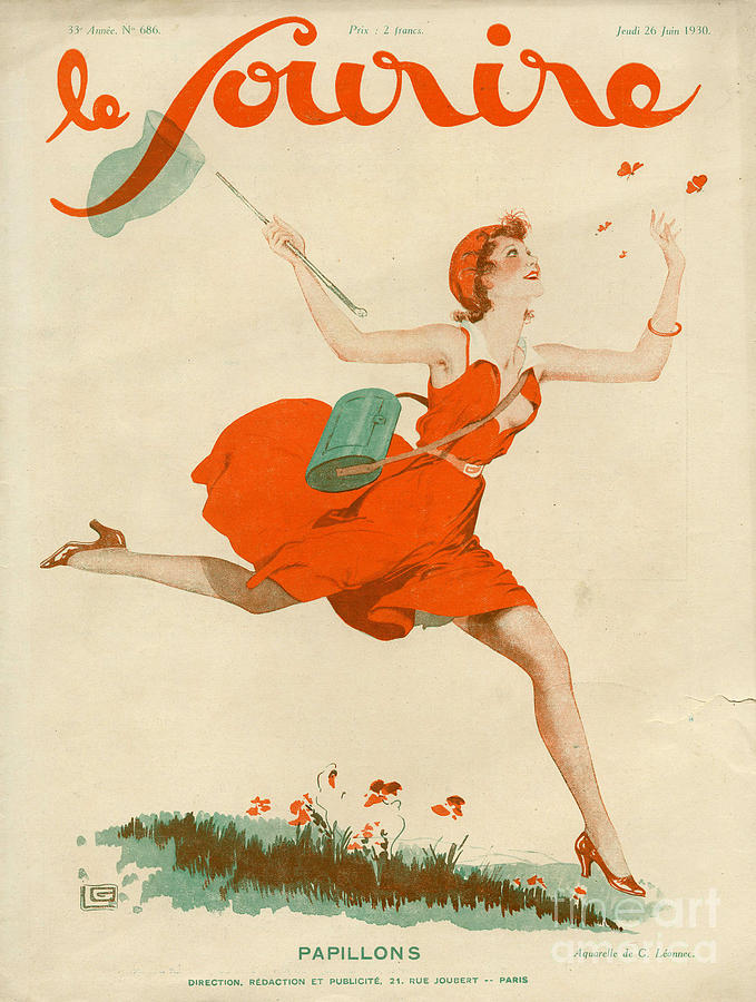 French Drawing - Le Sourire 1930 1930s France Magazines by The Advertising Archives