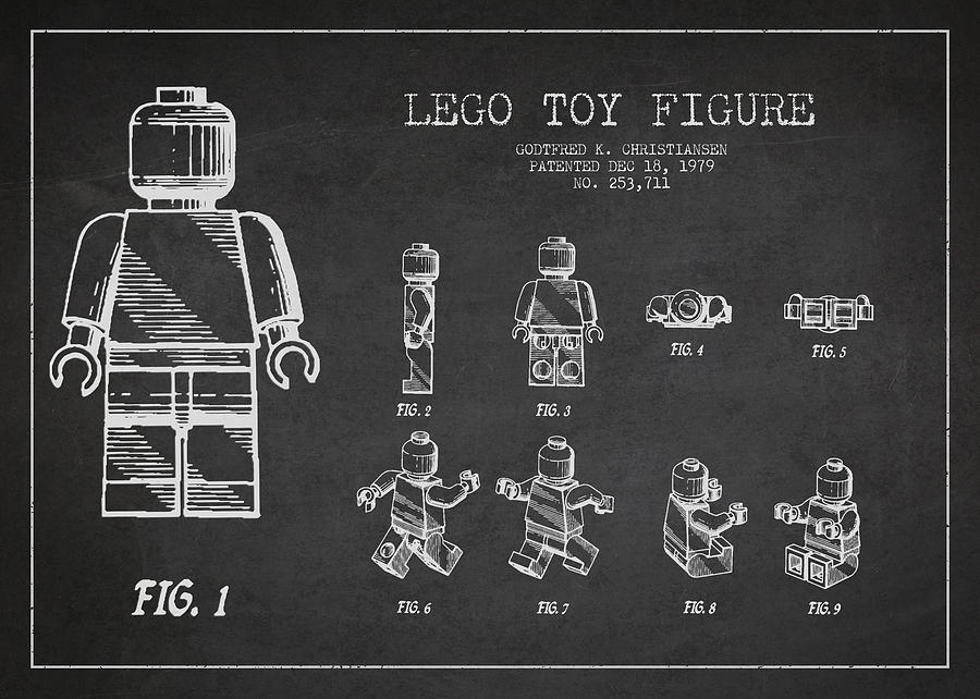 Lego Drawing - Lego Toy Figure Patent Drawing by Aged Pixel