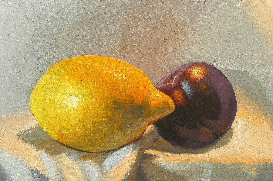 Lemon Painting - Lemon And Plum by Peter Orrock