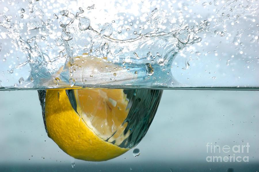 Lemon Splash Into Water Photograph
