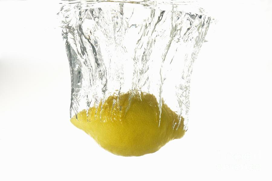 Freshness Photograph - Lemon Splashing Underwater by Sami Sarkis
