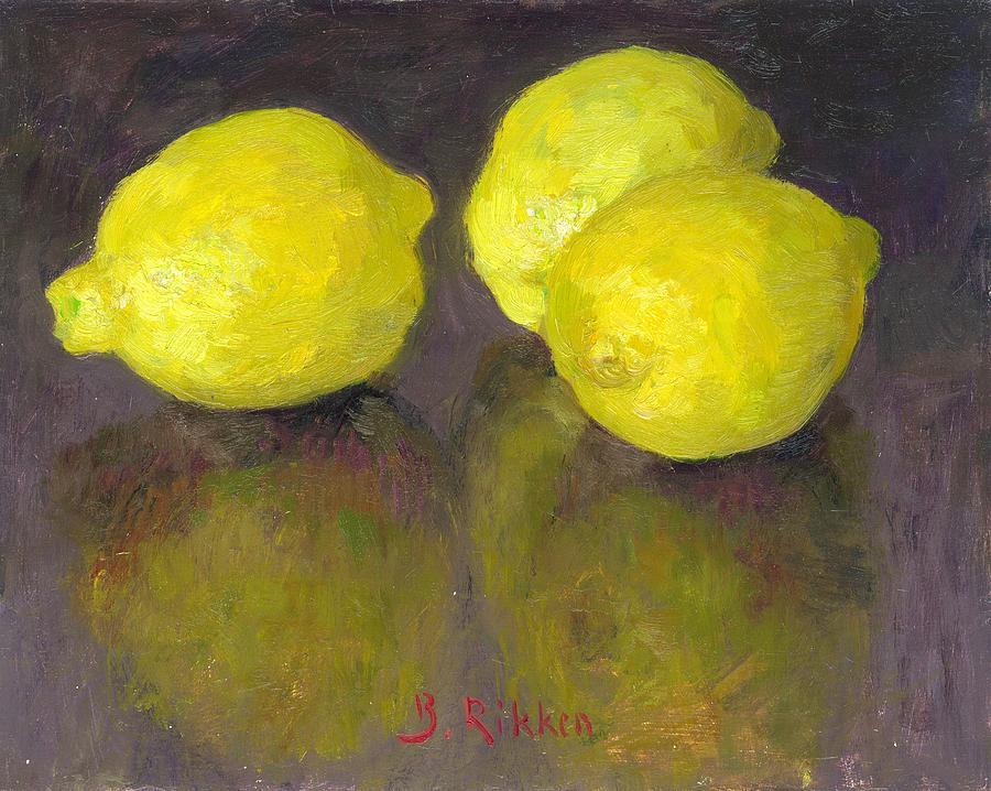 Lemons Painting - Three Lemons by Ben Rikken