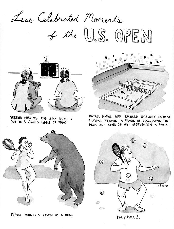 Less Celebrated Moments Of The Us Open Drawing by Emily Flake