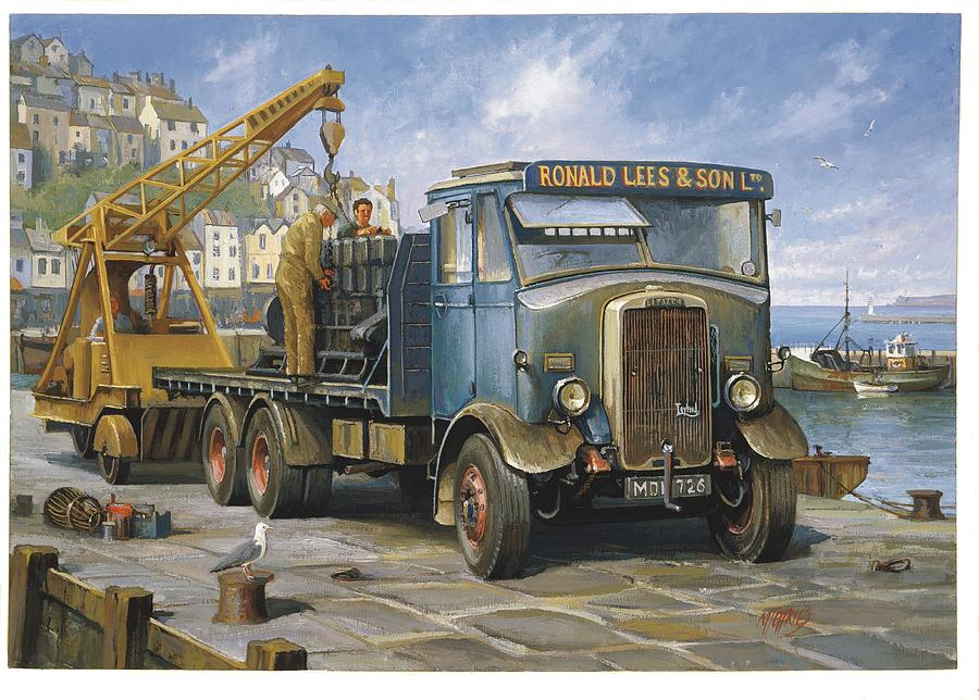 Lorry Painting - Leyland Hippo At Brixham. by Mike  Jeffries