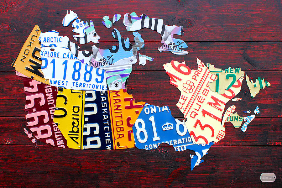 License Plate Map Of Canada Mixed Media by Design Turnpike