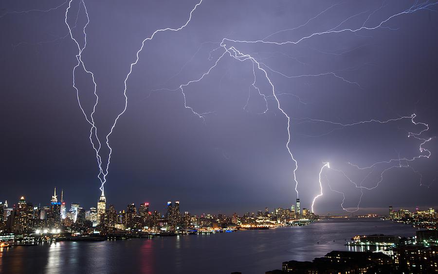 Storm Photograph - Lightening Over Manhattan by Zina Zinchik