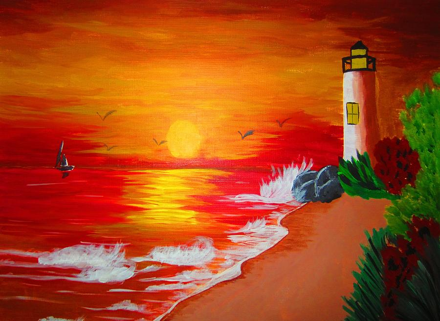 Lighthouse Painting - Lighthouse by Haleema Nuredeen