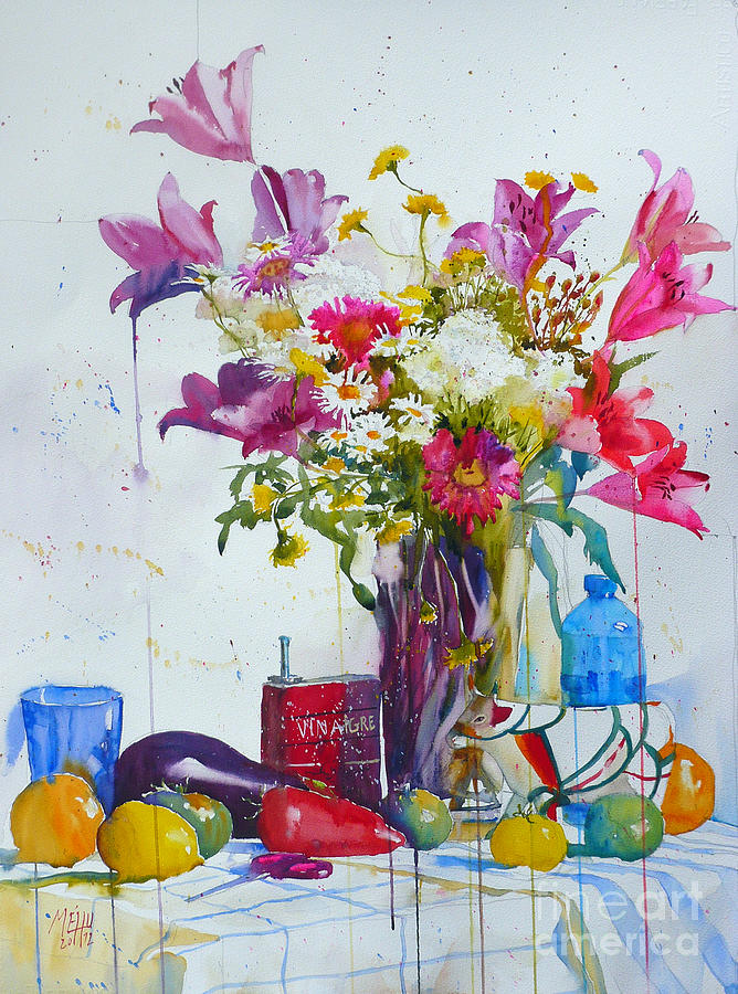 Watercolor Painting - Lilies And Piggy Bank by Andre MEHU