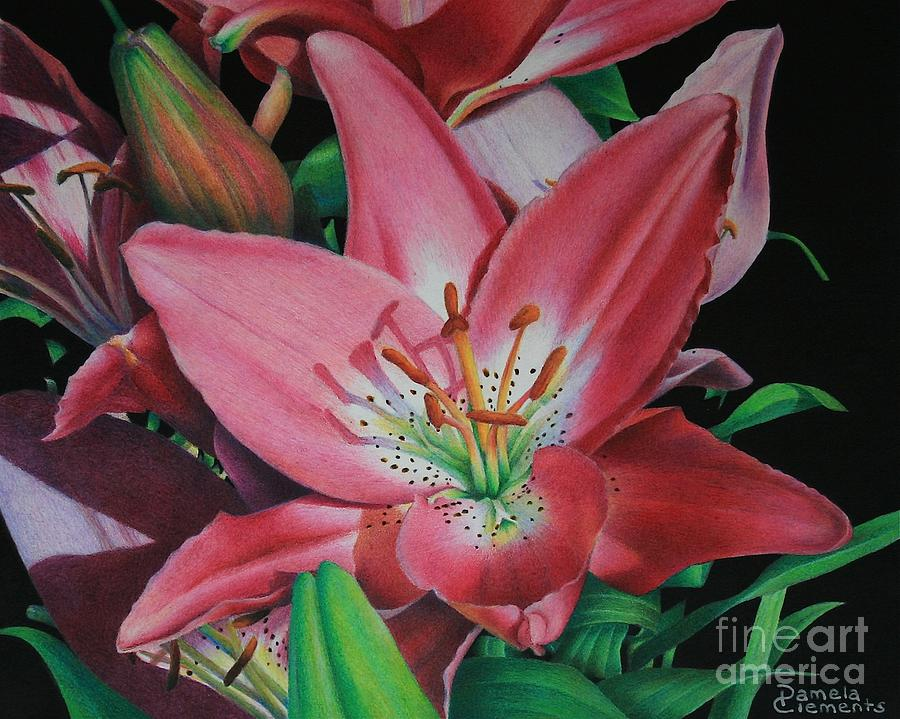 Lily Painting - Lilys Garden by Pamela Clements