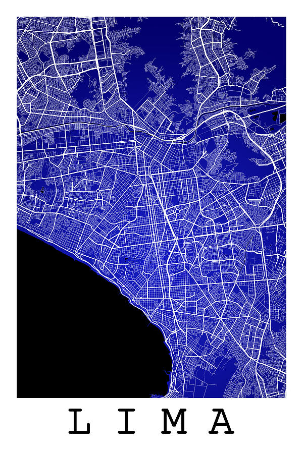 Lima Street Map Lima Peru Road Map Art On Color Digital Art By - Road map of peru