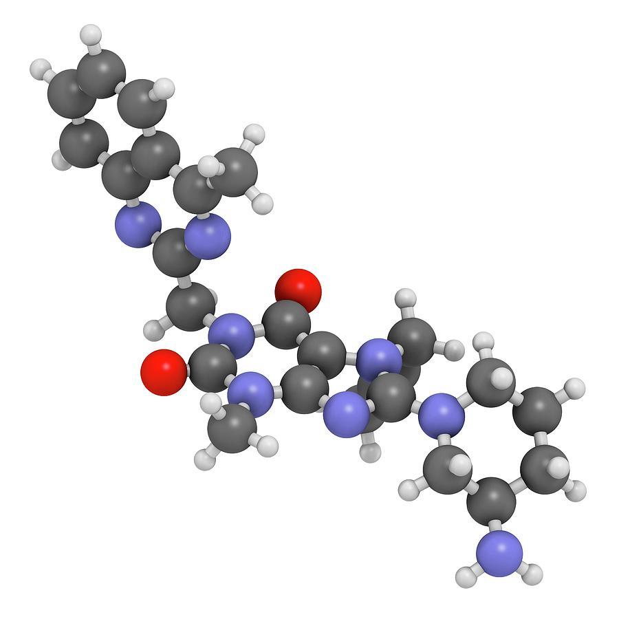 Inhibitor Photograph - Linagliptin Diabetes Drug Molecule by Molekuul