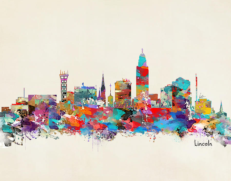 Lincoln Nebraska Skyline Painting - Lincoln Nebraska Skyline by Bri Buckley