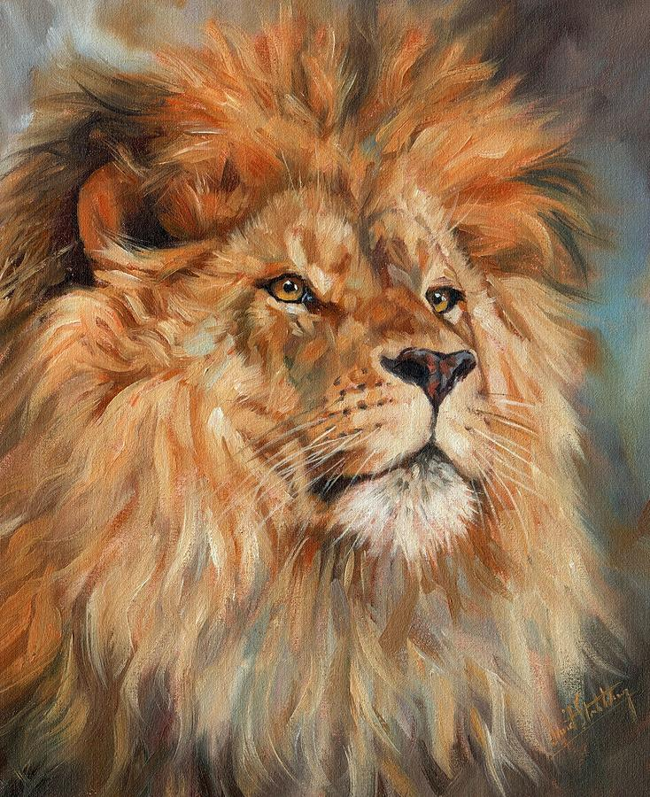 lion painting by david stribbling