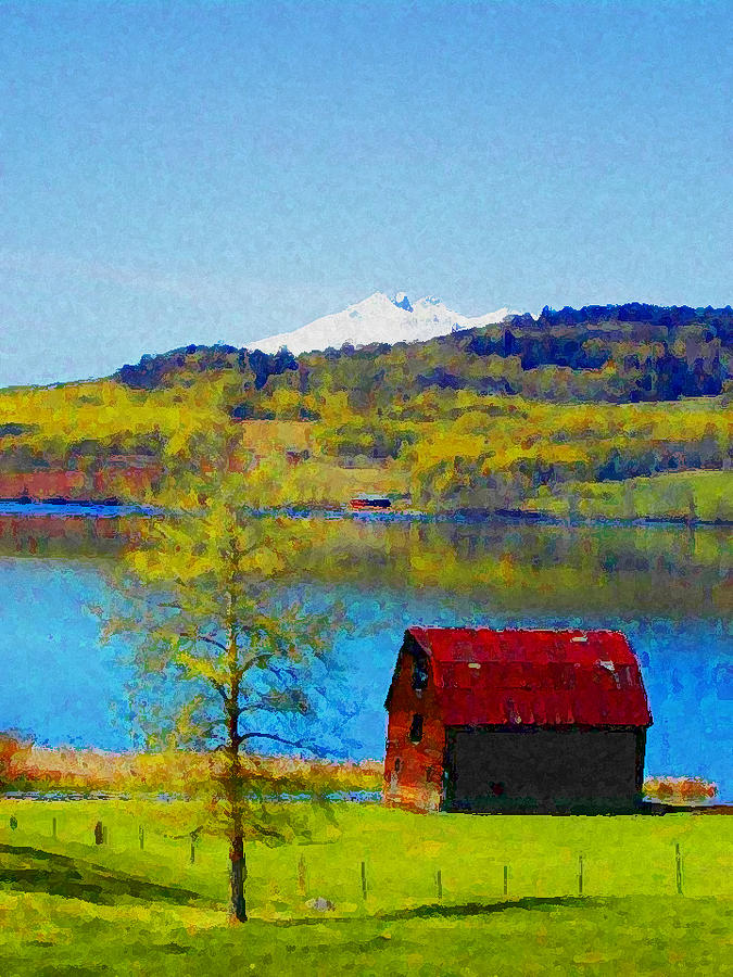 Expressive Photograph - Little Barn By The Lake by Lenore Senior and Constance Widen