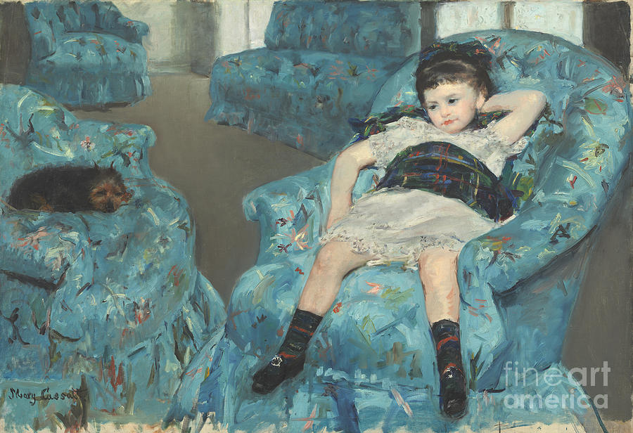 Mary Cassatt Painting - Little Girl In A Blue Armchair by Celestial Images