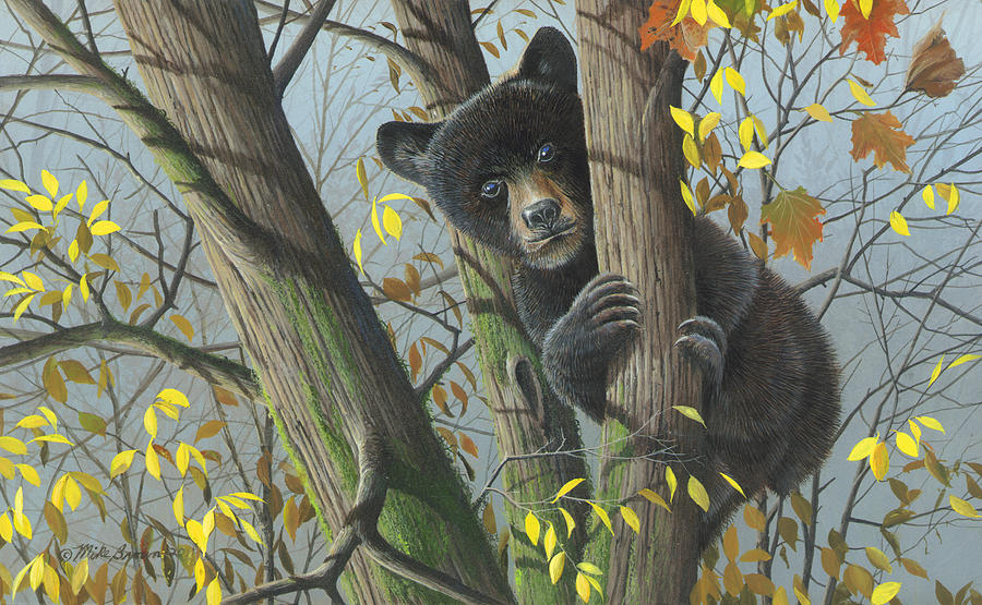 Black Bear Painting - Little Mischief by Mike Brown