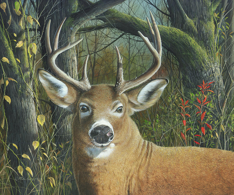White Tail Deer Painting - Living on the Edge by Mike Brown