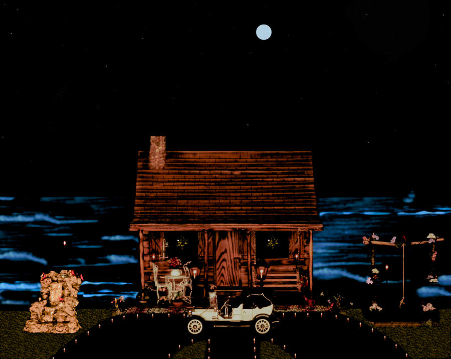 Log Cabin Photograph - Log Cabin And Out House  Scene With Old Vintage Classic 1908 Model T Ford In Color by Leslie Crotty