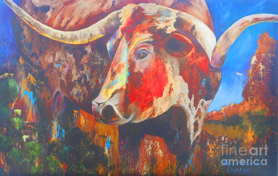 Paintings Painting - Longhorn Bull Business by Karen Kennedy Chatham
