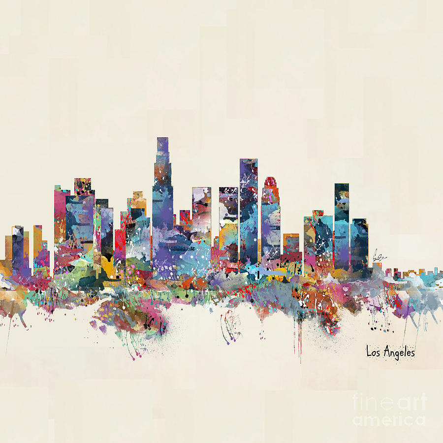 Los angeles california skyline painting by bleu bri for Painting in los angeles