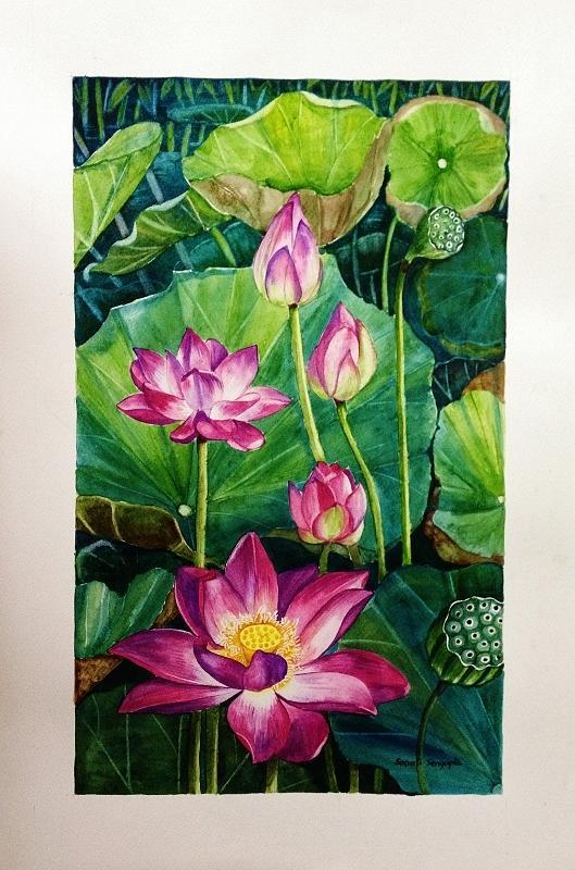 Lotus Painting - Lotus Pond by Sonali Sengupta