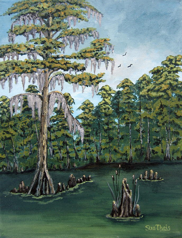 Landscape Painting - Louisiana Cypress by Suzanne Theis