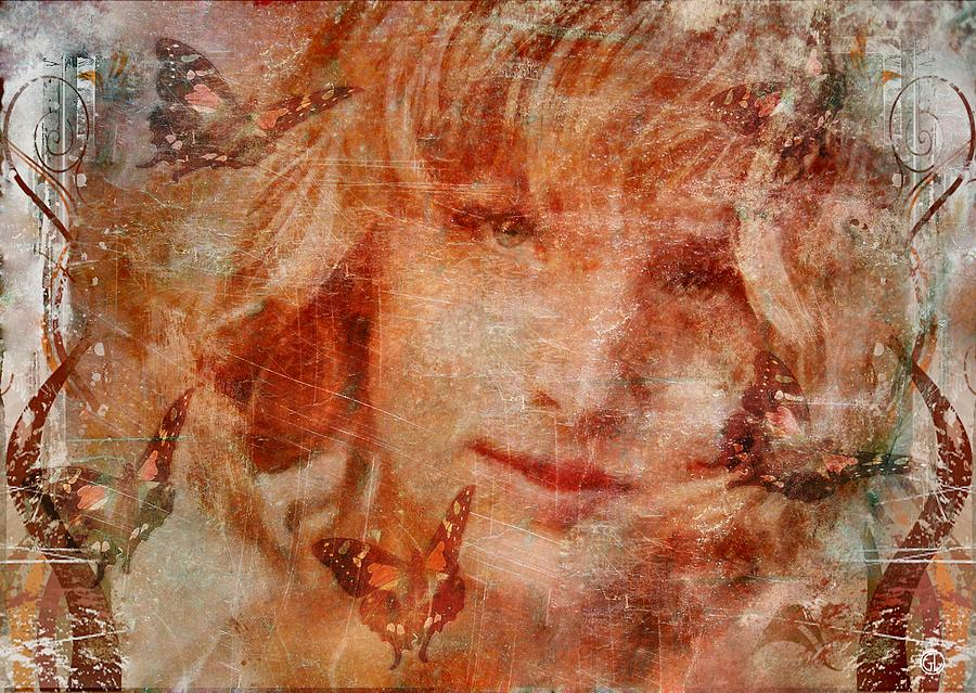 Girl Digital Art - Loved By Butterflies by Gun Legler