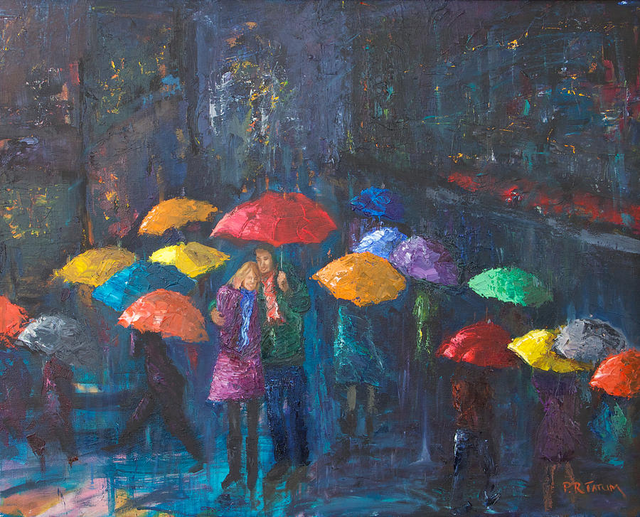 Lovers Walk In Paris Rain Painting by Pamela Ramey Tatum