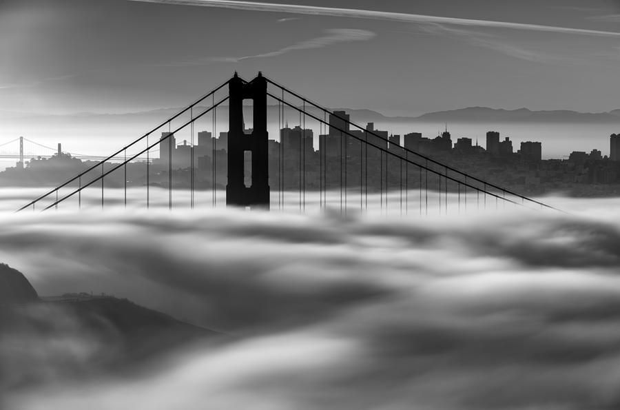 Low Fog Golden Gate Bridge Photograph By David Yu
