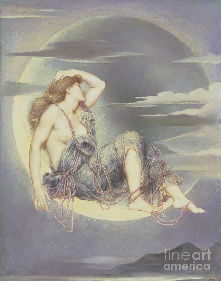 William Painting - Luna by Evelyn De Morgan