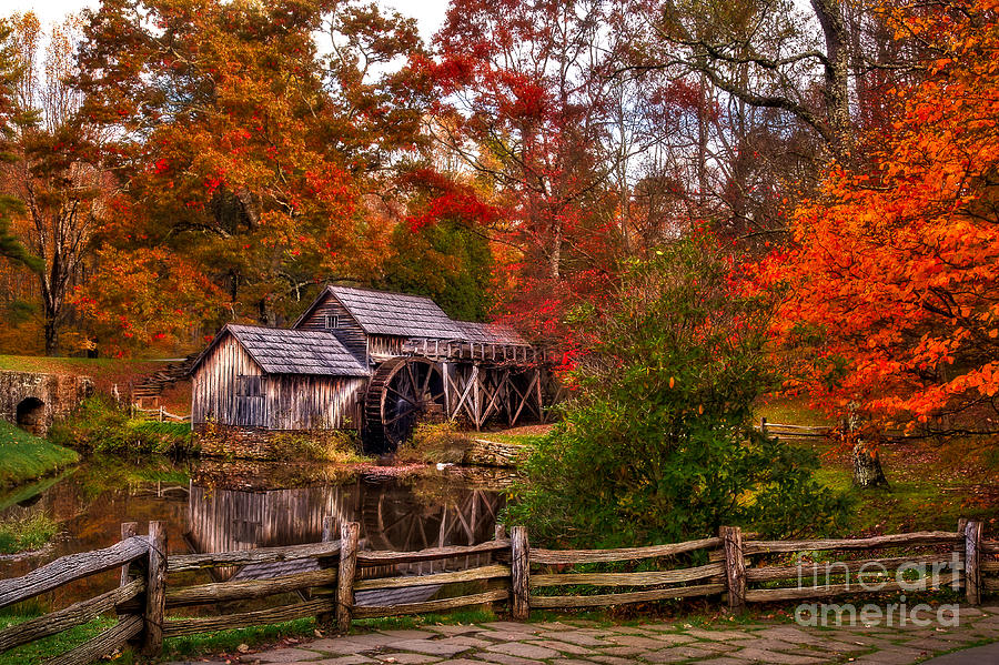 Mabry Mill Autumn Morning by Deborah Scannell