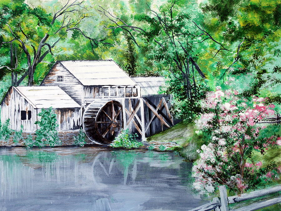 Mabry Mill Painting - Mabry Mill by Vickie Wright