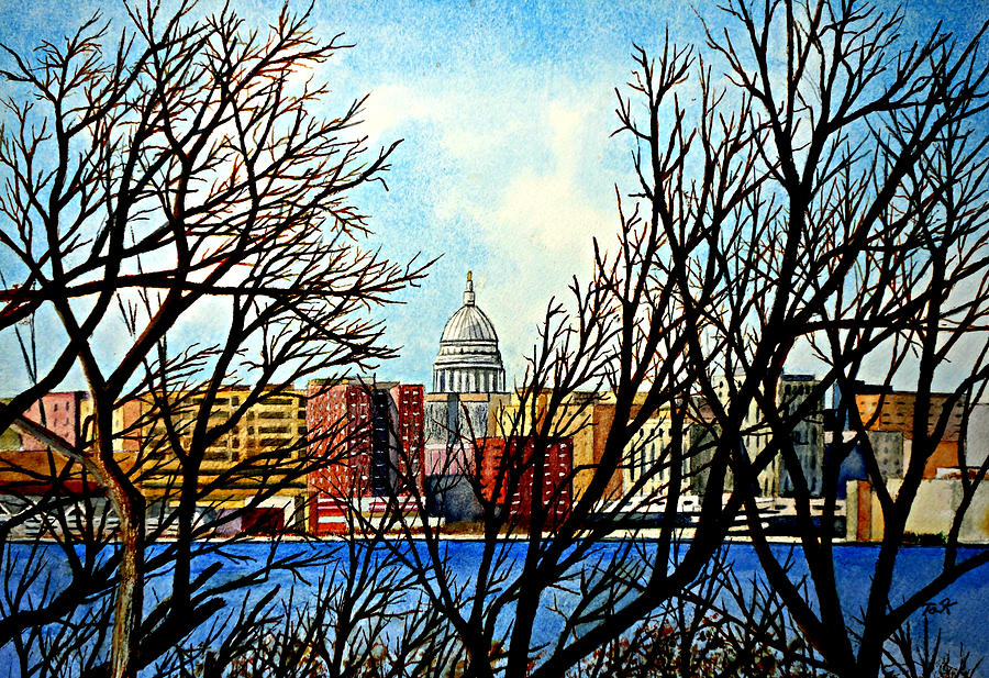Wisconsin Painting - Madison Treed by Thomas Kuchenbecker