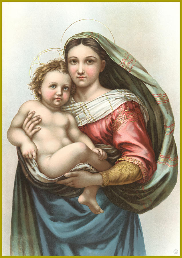 Antique Digital Art - Madonna And Child by Gary Grayson