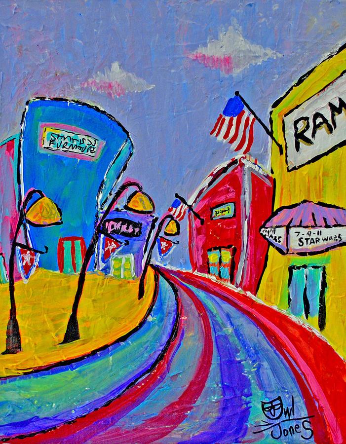 Main Street Painting - Main Street Usa by Owl Jones