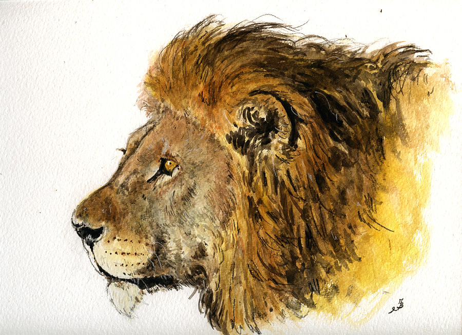 Male Painting - Male Lion by Juan  Bosco