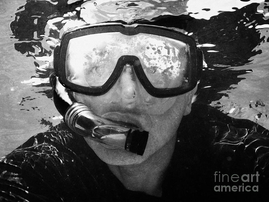 Man Photograph - Man Snorkeling With Mask And Snorkel In Clear Water Dry Tortugas Florida Keys Usa by Joe Fox