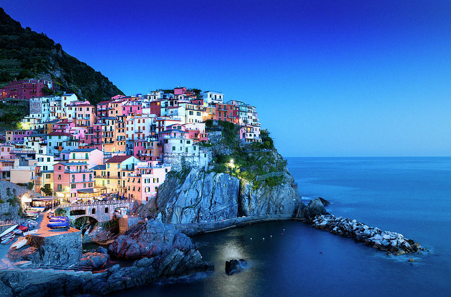 Manarola Cinque Terre At Night, Liguria Photograph by Pidjoe