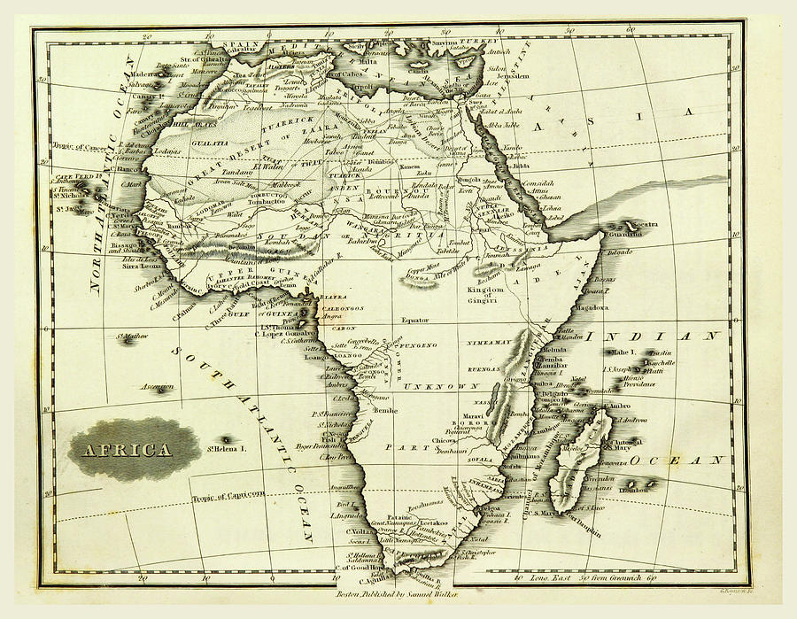 Map Africa, 19th Century Engraving Drawing by Litz Collection
